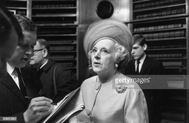 Romantic novelist Barbara Cartland attending the campaign to save the Argyll and Sutherland Highlanders regiment.