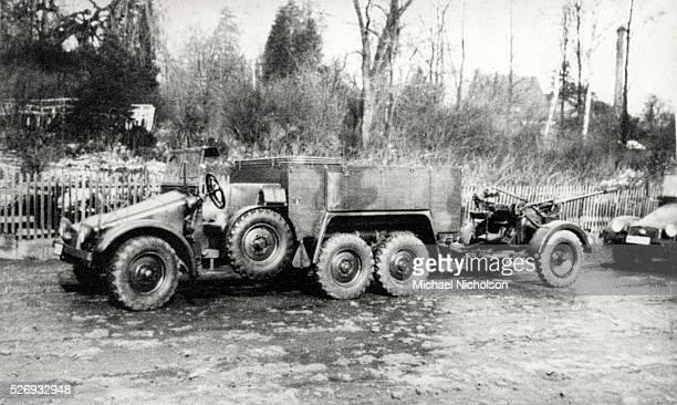 6x4 Kfz Krupp Protze sixwheeled light truck towing a 20mm FlaK 30 antiaircraft gun Possibly Czecholslovakia Photograph taken during the Second World...