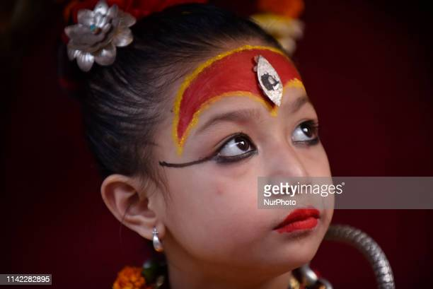6yrs old Living goddess of Patan Nihira Bajracharya arrive to observe the Chariot Pulling Festival of Rato Machindranath 'God of Rain' on first day...