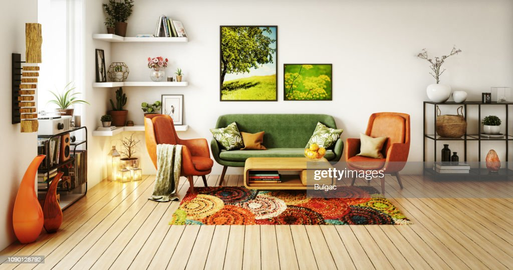 70s Style Living Room High Res Stock Photo Getty Images