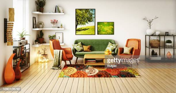 70s style living room - carpet decor stock photos and pictures