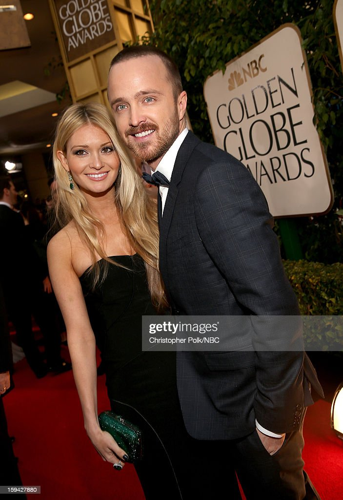 70th ANNUAL GOLDEN GLOBE AWARDS -- Pictured: Actor Aaron Paul (R) and Lauren Parsekian arrive to the 70th Annual Golden Globe Awards held at the Beverly Hilton Hotel on January 13, 2013.