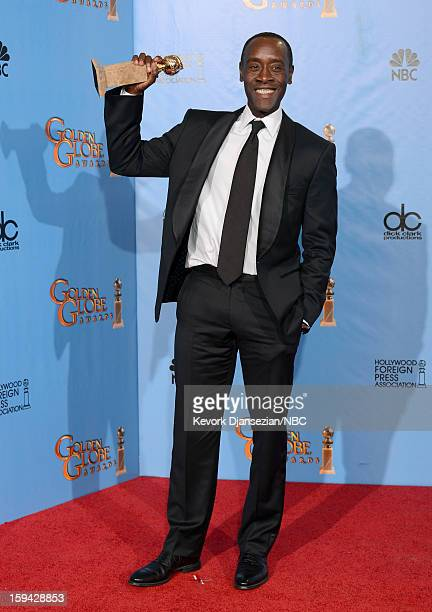 70th ANNUAL GOLDEN GLOBE AWARDS Pictured Actor Don Cheadle winner Best Actor in a Television Series Comedy or Musical for 'House of Lies' poses in...