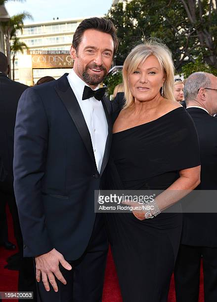 70th ANNUAL GOLDEN GLOBE AWARDS -- Pictured: Actor Hugh Jackman and Deborra-Lee Furness arrive to the 70th Annual Golden Globe Awards held at the...