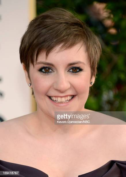 70th ANNUAL GOLDEN GLOBE AWARDS Pictured Actor Lena Dunham arrives to the 70th Annual Golden Globe Awards held at the Beverly Hilton Hotel on January...