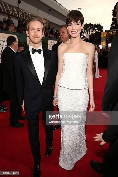70th ANNUAL GOLDEN GLOBE AWARDS Pictured Actors Adam Shulman and Anne Hathaway arrive to the 70th Annual Golden Globe Awards held at the Beverly...