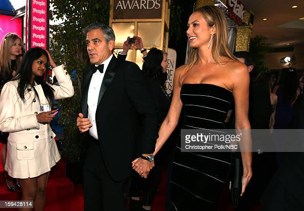70th ANNUAL GOLDEN GLOBE AWARDS Pictured Actors George Clooney and Stacy Keibler arrive to the 70th Annual Golden Globe Awards held at the Beverly...