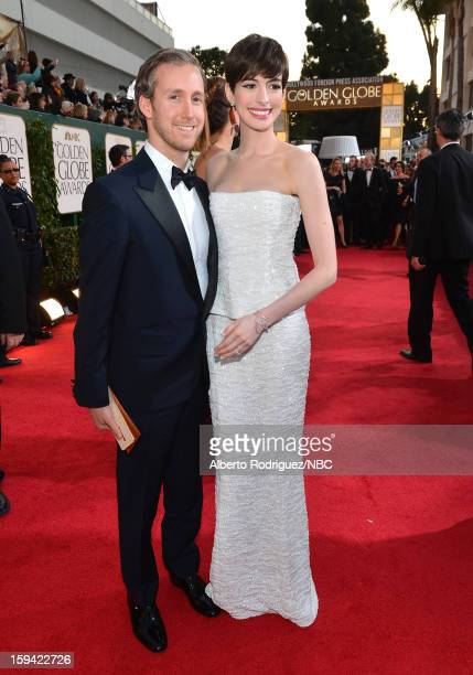 70th ANNUAL GOLDEN GLOBE AWARDS Pictured Actress Anne Hathaway and husband Adam Shulman arrive to the 70th Annual Golden Globe Awards held at the...