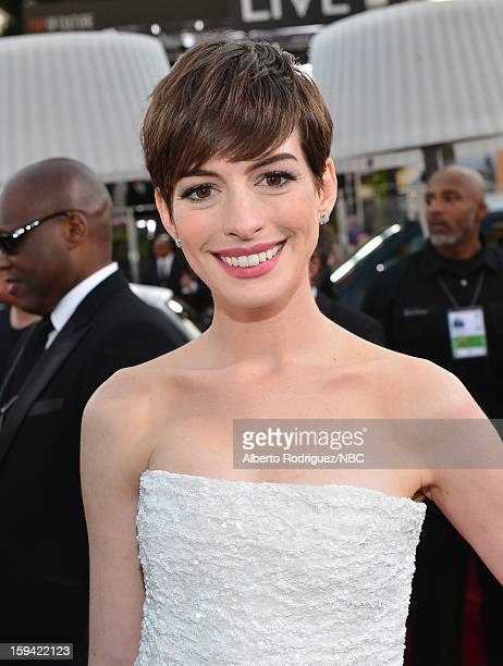 70th ANNUAL GOLDEN GLOBE AWARDS Pictured Actress Anne Hathaway arrives to the 70th Annual Golden Globe Awards held at the Beverly Hilton Hotel on...