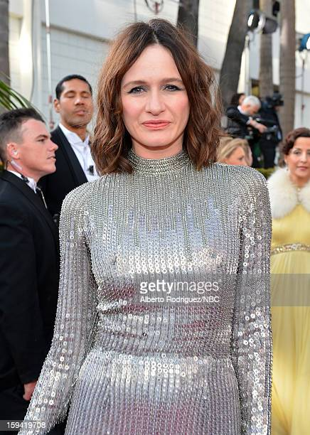 70th ANNUAL GOLDEN GLOBE AWARDS Pictured Actress Emily Mortimer arrives to the 70th Annual Golden Globe Awards held at the Beverly Hilton Hotel on...