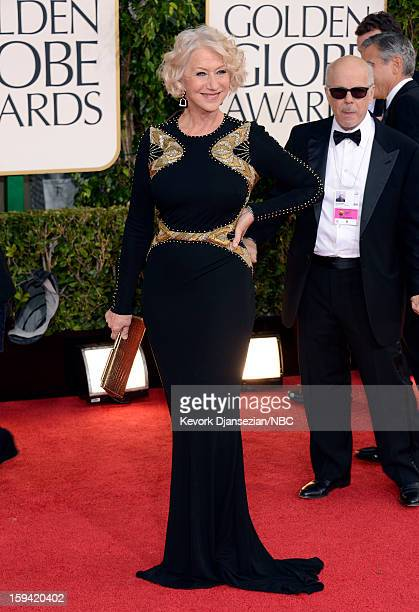 70th ANNUAL GOLDEN GLOBE AWARDS -- Pictured: Actress Helen Mirren arrives to the 70th Annual Golden Globe Awards held at the Beverly Hilton Hotel on...