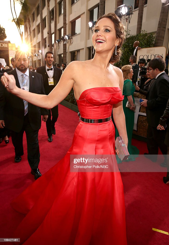 70th ANNUAL GOLDEN GLOBE AWARDS -- Pictured: Actress Jennifer Lawrence arrives to the 70th Annual Golden Globe Awards held at the Beverly Hilton Hotel on January 13, 2013.