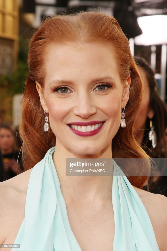 70th ANNUAL GOLDEN GLOBE AWARDS -- Pictured: Actress Jessica Chastain arrives to the 70th Annual Golden Globe Awards held at the Beverly Hilton Hotel on January 13, 2013.