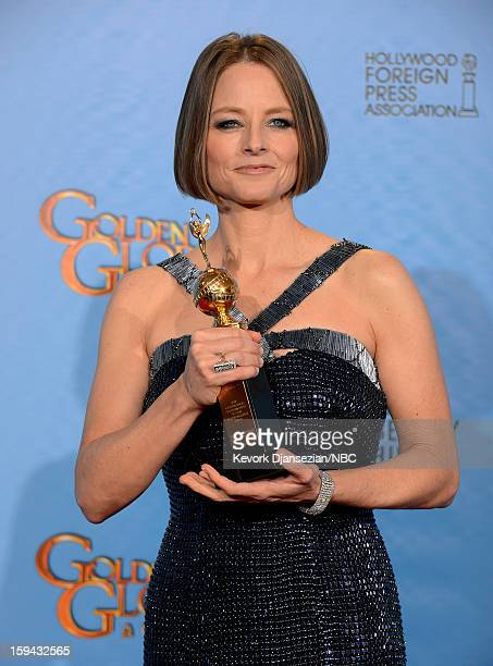 70th ANNUAL GOLDEN GLOBE AWARDS Pictured Actress Jodie Foster recipient of the Cecil B Demille Award poses in the press room at the 70th Annual...