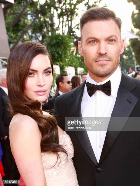 70th ANNUAL GOLDEN GLOBE AWARDS Pictured Actress Megan Fox and actor Brian Austin Green arrive to the 70th Annual Golden Globe Awards held at the...