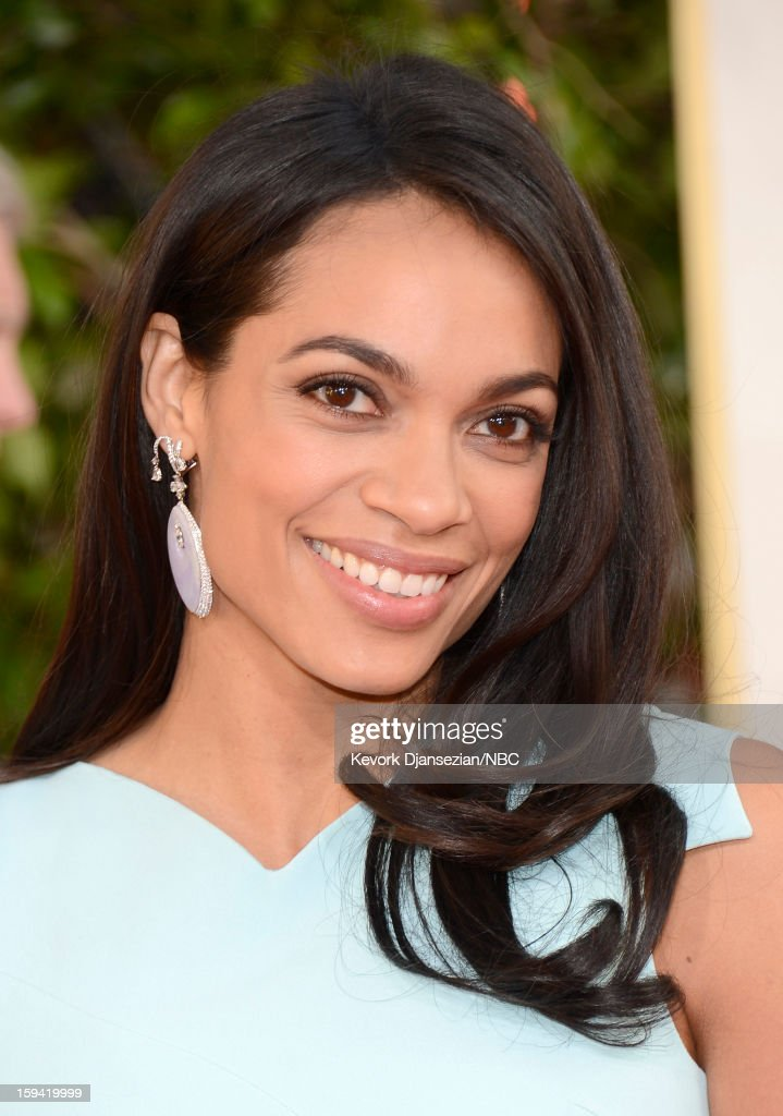 70th ANNUAL GOLDEN GLOBE AWARDS -- Pictured: Actress Rosario Dawson arrives to the 70th Annual Golden Globe Awards held at the Beverly Hilton Hotel on January 13, 2013.
