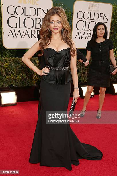 70th ANNUAL GOLDEN GLOBE AWARDS Pictured Actress Sarah Hyland arrives to the 70th Annual Golden Globe Awards held at the Beverly Hilton Hotel on...