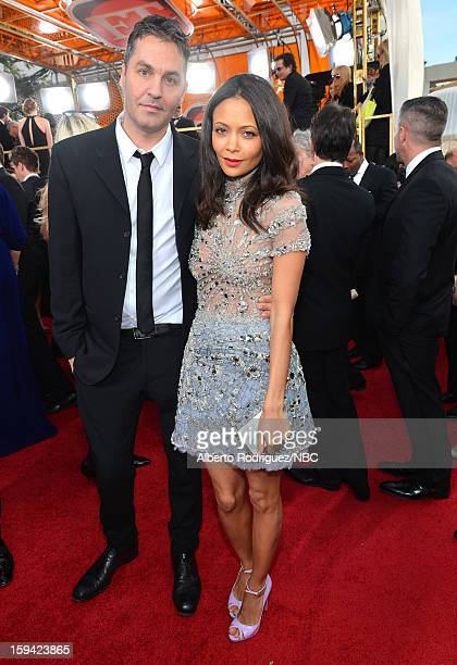 70th ANNUAL GOLDEN GLOBE AWARDS Pictured Actress Thandie Newton and Ol Parker arrive to the 70th Annual Golden Globe Awards held at the Beverly...