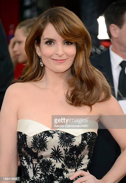 70th ANNUAL GOLDEN GLOBE AWARDS Pictured Actress Tina Fey arrives to the 70th Annual Golden Globe Awards held at the Beverly Hilton Hotel on January...