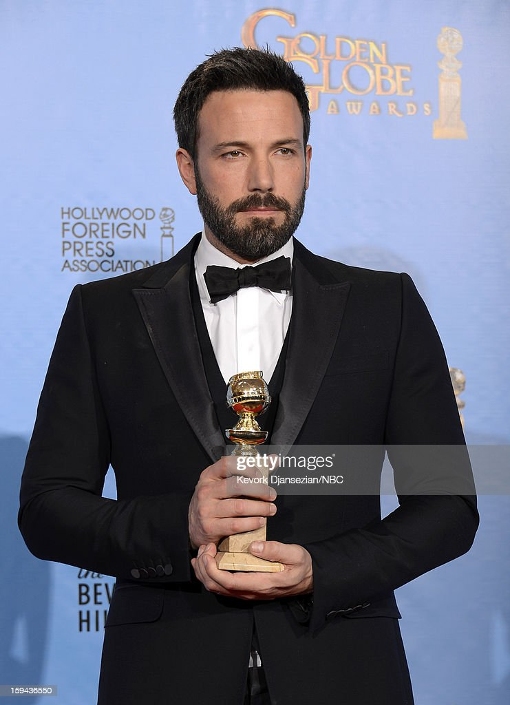70th ANNUAL GOLDEN GLOBE AWARDS -- Pictured: Director Ben Affleck, winner Best Director - Motion Picture for 'Argo', poses in the press room at the 70th Annual Golden Globe Awards held at the Beverly Hilton Hotel on January 13, 2013.