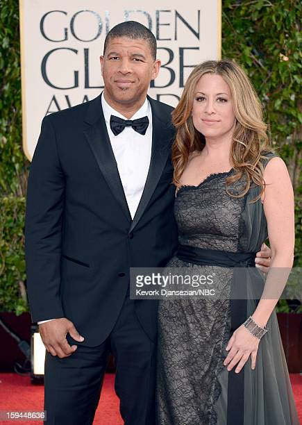 70th ANNUAL GOLDEN GLOBE AWARDS Pictured Director Peter Ramsey and producer Christina Steinberg arrive to the 70th Annual Golden Globe Awards held at...