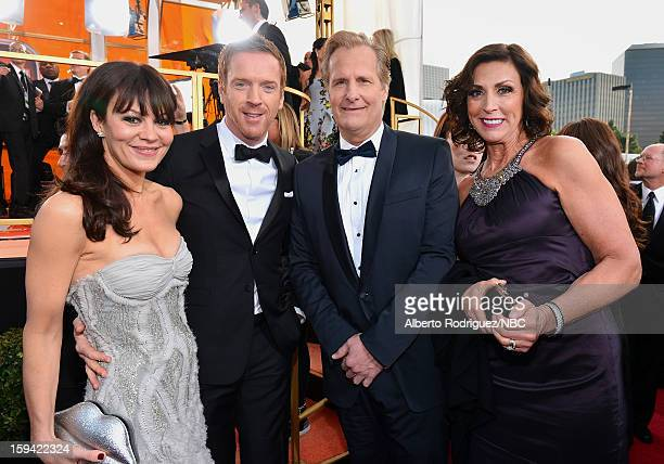 70th ANNUAL GOLDEN GLOBE AWARDS Pictured Helen McCrory Damian Lewis Jeff Daniels and wife Kathleen Treado arrive to the 70th Annual Golden Globe...