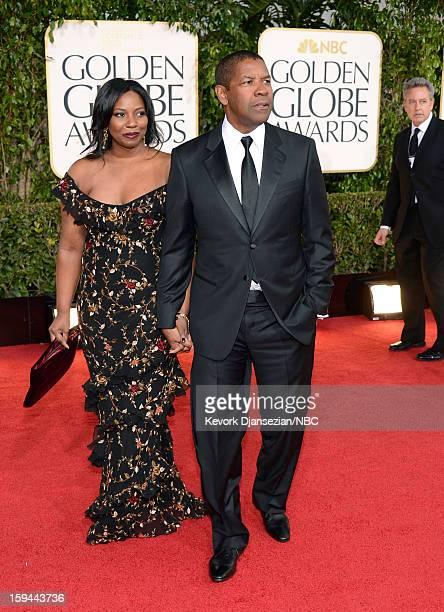 70th ANNUAL GOLDEN GLOBE AWARDS Pictured Olivia Washington and Denzel Washington arrive to the 70th Annual Golden Globe Awards held at the Beverly...