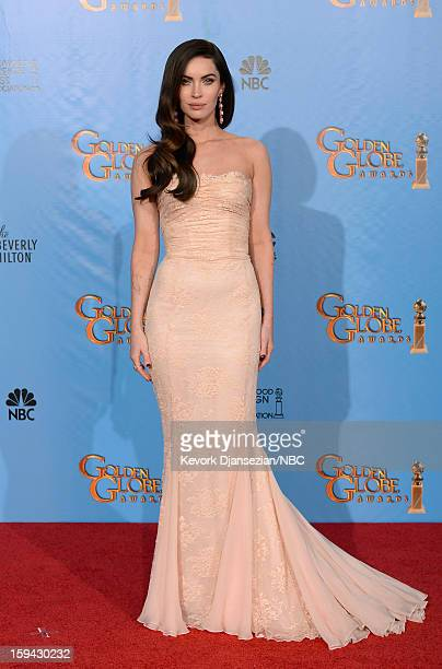 70th ANNUAL GOLDEN GLOBE AWARDS Pictured Presenter Megan Fox poses in the press room at the 70th Annual Golden Globe Awards held at the Beverly...
