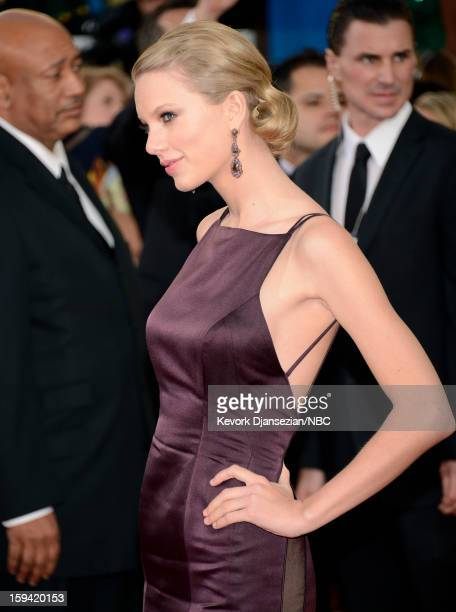 70th ANNUAL GOLDEN GLOBE AWARDS Pictured Singer/songwriter Taylor Swift arrives to the 70th Annual Golden Globe Awards held at the Beverly Hilton...