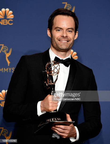 70th ANNUAL PRIMETIME EMMY AWARDS Pictured Actor Bill Hader poses with the Outstanding Actor in a Comedy Series award for 'Barry' during the 70th...