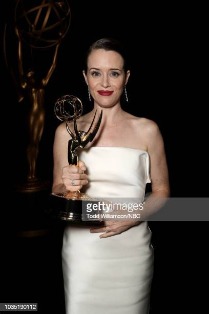 70th ANNUAL PRIMETIME EMMY AWARDS -- Pictured: Actor CLaire Foy poses with her Outstanding Lead Actress in a Drama Series award during the 70th...