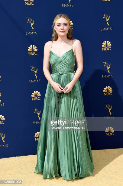 70th ANNUAL PRIMETIME EMMY AWARDS Pictured Actor Dakota Fanning arrives to the 70th Annual Primetime Emmy Awards held at the Microsoft Theater on...