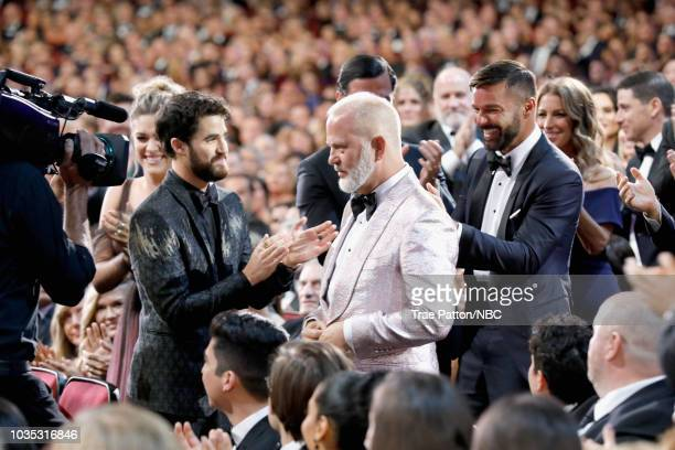 70th ANNUAL PRIMETIME EMMY AWARDS Pictured Actor Darren Criss producer/director Ryan Murphy and actor Ricky Martin win Outstanding Limited Series for...