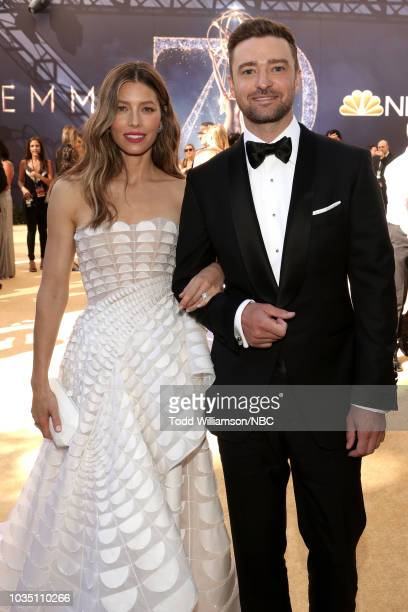 70th ANNUAL PRIMETIME EMMY AWARDS Pictured Actor Jessica Biel and actor/singer Justin Timberlake arrive to the 70th Annual Primetime Emmy Awards held...