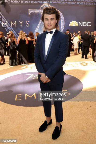 70th ANNUAL PRIMETIME EMMY AWARDS Pictured Actor Joe Keery arrives to the 70th Annual Primetime Emmy Awards held at the Microsoft Theater on...