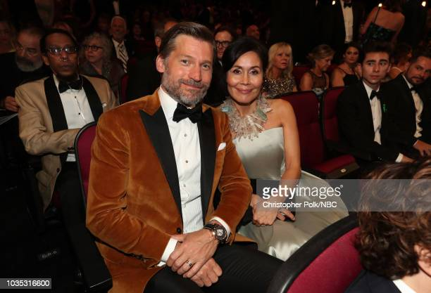 70th ANNUAL PRIMETIME EMMY AWARDS -- Pictured: Actor Nikolaj Coster-Waldau and singer Nukaaka Coster-Waldau arrives to the 70th Annual Primetime Emmy...