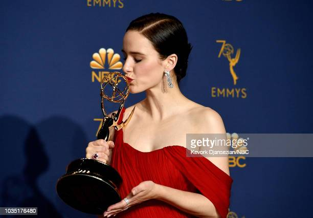 70th ANNUAL PRIMETIME EMMY AWARDS Pictured Actor Rachel Brosnahan poses with the Outstanding Lead Actress in a Comedy Series award for 'The Marvelous...