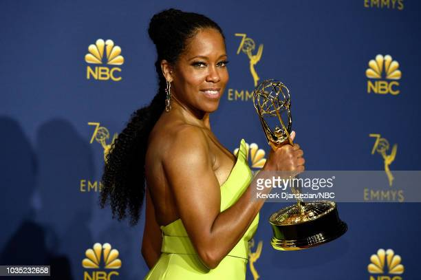 70th ANNUAL PRIMETIME EMMY AWARDS -- Pictured: Actor Regina King poses with the Outstanding Lead Actress in a Limited Series or Movie award for...