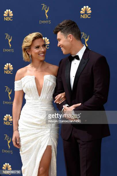 70th ANNUAL PRIMETIME EMMY AWARDS Pictured Actor Scarlett Johansson and host Colin Jost arrive to the 70th Annual Primetime Emmy Awards held at the...