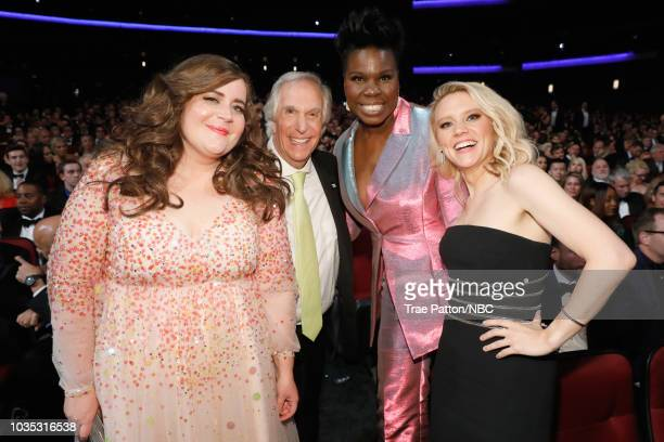 70th ANNUAL PRIMETIME EMMY AWARDS -- Pictured: Actors Aidy Bryant, Henry Winkler, Leslie Jones, and Kate McKinnon attend the 70th Annual Primetime...