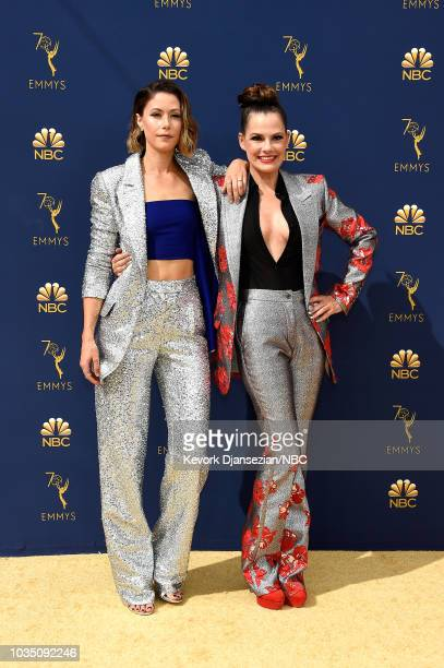70th ANNUAL PRIMETIME EMMY AWARDS Pictured Actors Amanda Crew and Suzanne Cryer arrive to the 70th Annual Primetime Emmy Awards held at the Microsoft...