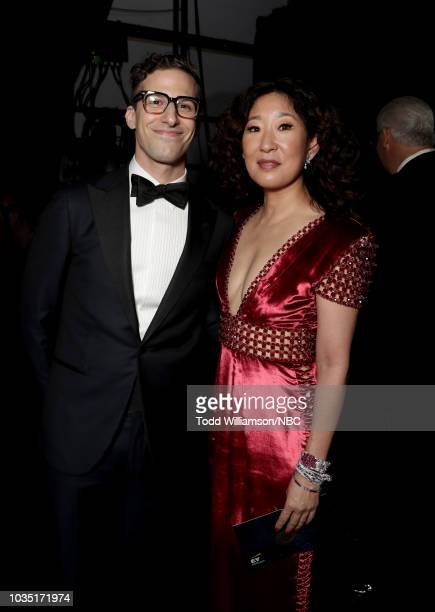 70th ANNUAL PRIMETIME EMMY AWARDS Pictured Actors Andy Samberg and Sandra Oh attend the 70th Annual Primetime Emmy Awards held at the Microsoft...
