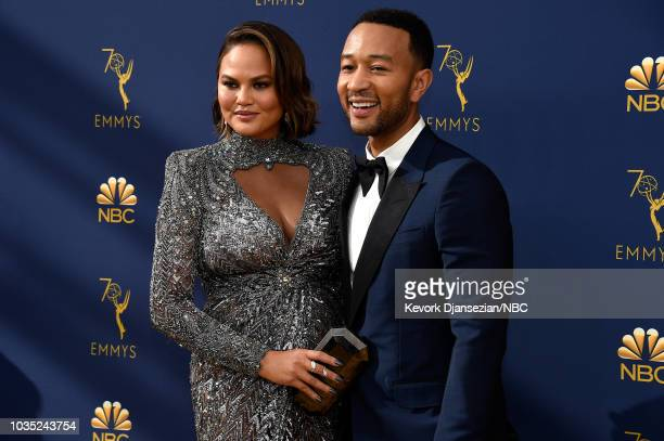 70th ANNUAL PRIMETIME EMMY AWARDS Pictured Actors Chrissy Teigen and recording artist John Legend arrives to the 70th Annual Primetime Emmy Awards...