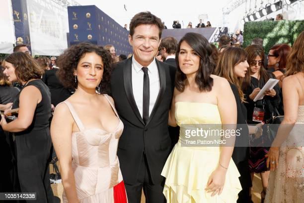 70th ANNUAL PRIMETIME EMMY AWARDS Pictured Actors Ilana Glazer Jason Bateman and Abbi Jacobson arrive to the 70th Annual Primetime Emmy Awards held...