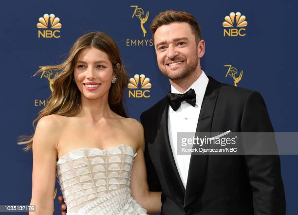 70th ANNUAL PRIMETIME EMMY AWARDS -- Pictured: Actors Jessica Biel and Justin Timberlake arrive to the 70th Annual Primetime Emmy Awards held at the...