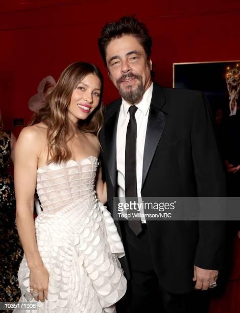 70th ANNUAL PRIMETIME EMMY AWARDS Pictured Actors Jessica Biel and Benicio del Toro attend the 70th Annual Primetime Emmy Awards held at the...