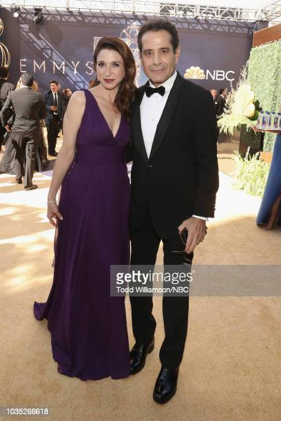 70th ANNUAL PRIMETIME EMMY AWARDS Pictured Actors Marin Hinkle and Tony Shalhoub arrive to the 70th Annual Primetime Emmy Awards held at the...