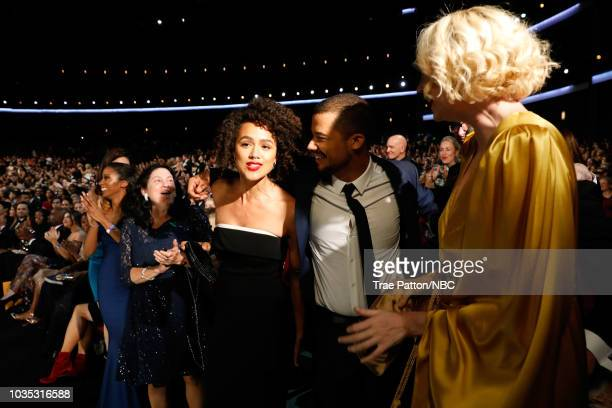 70th ANNUAL PRIMETIME EMMY AWARDS Pictured Actors Nathalie Emmanuel Jacob Anderson and Gwendoline Christie win Outstanding Drama Series for 'Game of...