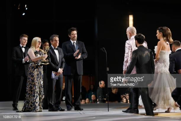 70th ANNUAL PRIMETIME EMMY AWARDS -- Pictured: Actors Patricia Arquette, Ben Stiller and Benicio del Toro present Outstanding Limited Series for 'The...