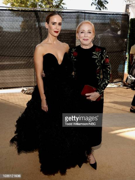 70th ANNUAL PRIMETIME EMMY AWARDS -- Pictured: Actors Sarah Paulson and Holland Taylor arrive to the 70th Annual Primetime Emmy Awards held at the...